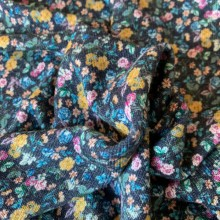 Remnant Peacock blue Viscose jersey fabric Small Flowers 140 cm x 136 cm