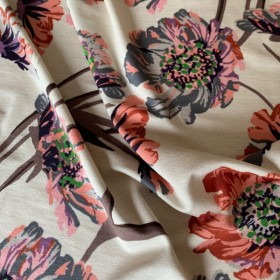 Off white Viscose Jersey fabric Poppies