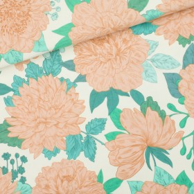 French Terry Knit fabric Peonies