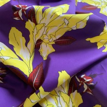 Poplin Cotton Fragance d'été purple and yellow