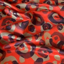 Remnant Cotton and Silk Sauvane Carmine Red 74 cm x 136 cm
