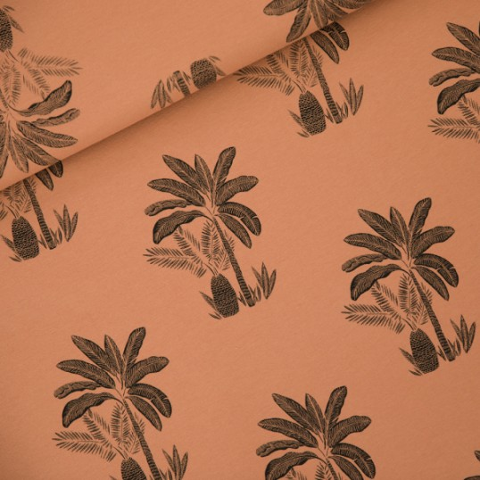 French Terry Palm Trees Pecan Brown