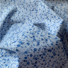 Remnant Floral and striped Blue Cotton 138 cmx 150 cm