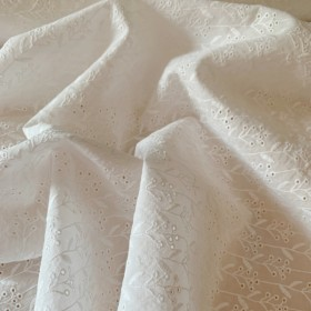 """White broderie anglaise cotton fabric """"Small flowers"""""""