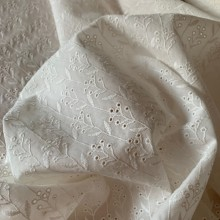 """Off white broderie anglaise cotton fabric """"Small flowers"""""""
