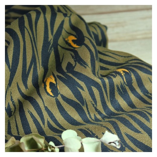 Crepe Viscose fabric Zebra Kaki