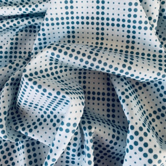 Cotton Jersey Blue Denim polka dots