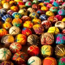 Mix di palline lana infeltrita ricamate  x6
