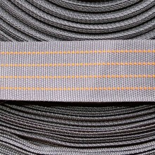 Polyester gros grain strap in grey and orange neon
