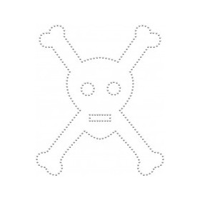 Studded iron-on patch skull and crossbones (silver)