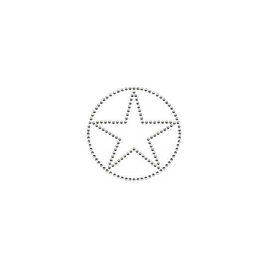 Studded iron-on patch big star (silver)