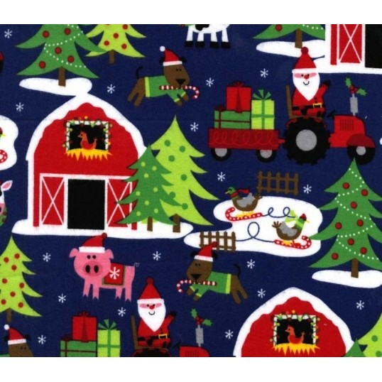Cotton Fabric flanella santas farm