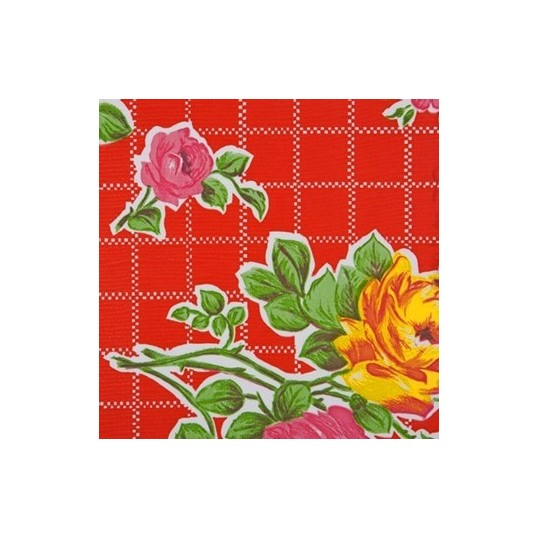 Oilcloth red / flowers