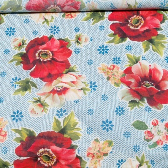 Viscose fabric Dog rose