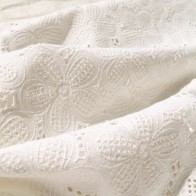 Broderie anglaise denim cotton fabric white