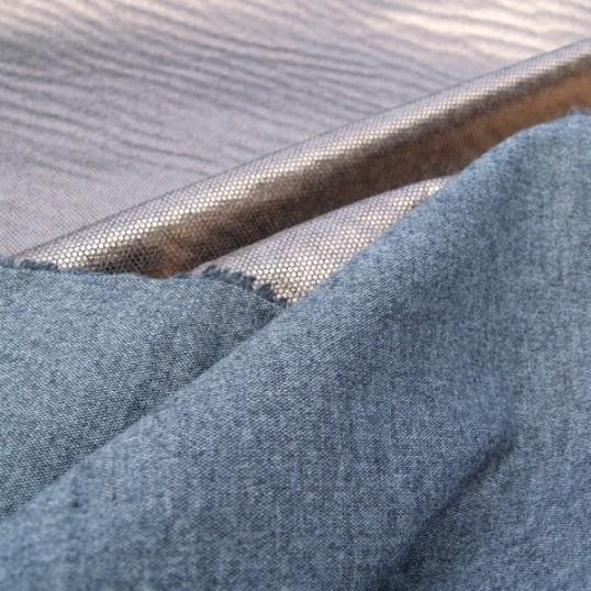 Metallic Pink dots coating on wool fabric