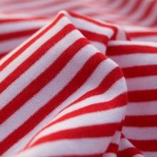 Tessuto maglia cotone righe rosso/bianco