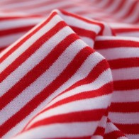 Cotton knit fabric - red/whites stripes