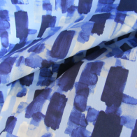 light and dark blue cotton fabric with  an impressionisit touch