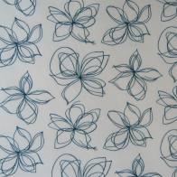 cotton and polyamide fabric blue stylised flowers