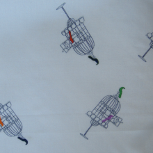 Cotton fabric - bird cage pattern