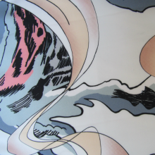 polyester Hokusai touch fabric