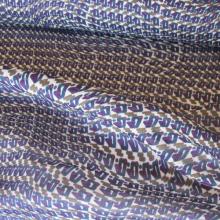 tessuto di poliestere viola turchese e cachi