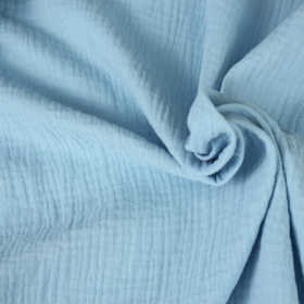 double gauze cotton fabric light blue