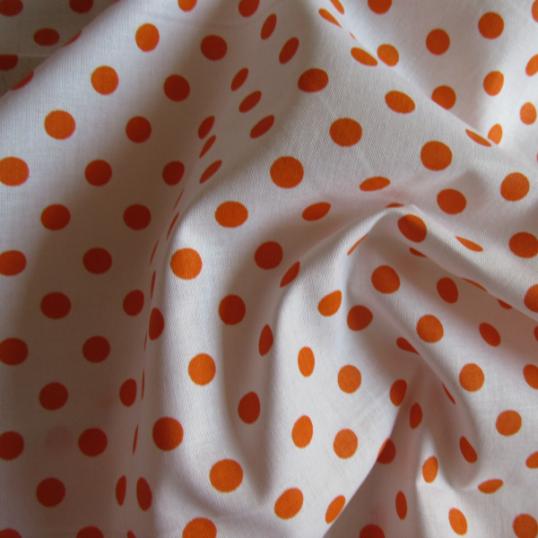 white cotton fabric & orange polka dots