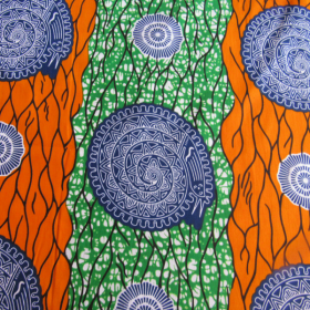 wax Supreme fabric green orange and blue coloured