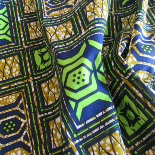 wax Supreme fabric green blue and anise green coloured