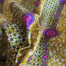wax Supreme fabric purple and mustard coloured