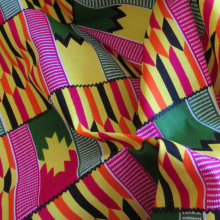 Wax Supreme Kente fabric yellow and fuschia