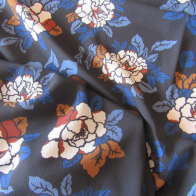 polyester fabric - Floral blue and rust coloured