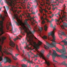 ruby red and black french terry knit fabric
