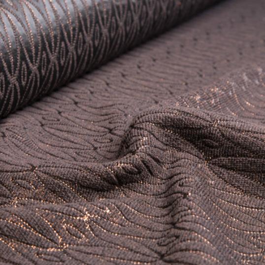 Tessuto misto colore cioccolato /lurex ramato