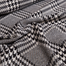 Prince of Wales wool fabric black and beige