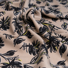 viscose fabric pink beige with black flowers
