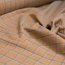 Tessuto cotone  a quadri beige e blu
