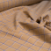 cotton fabric beige and blue check pattern