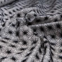 Black embroidery / White cotton fabric