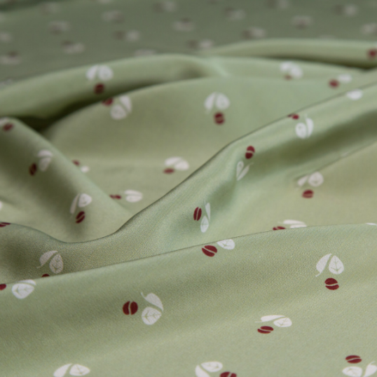 silk fabric water green with automn inspiration