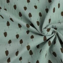 doppia garza di cotone verde acqua con foglie marrone