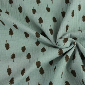 double gauze cotton fabric emerald green with gold leaves