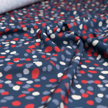 polyester remnant petrol blue beige and red spots pattern 90 cm x 150 cm