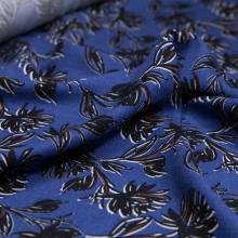viscose remnant royal blue with black flowers 95 cm x 145 cm