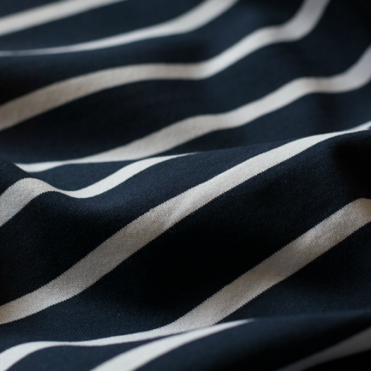 Navy/cream stripes cotton knit fabric