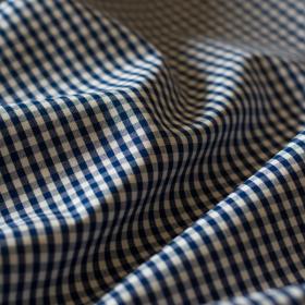 Oxford gingham dark blue cotton fabric
