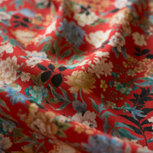 Red Viscose LLiberty fabric with japanese flowers