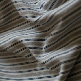 Cotton knit fabric - blue and grey stripes